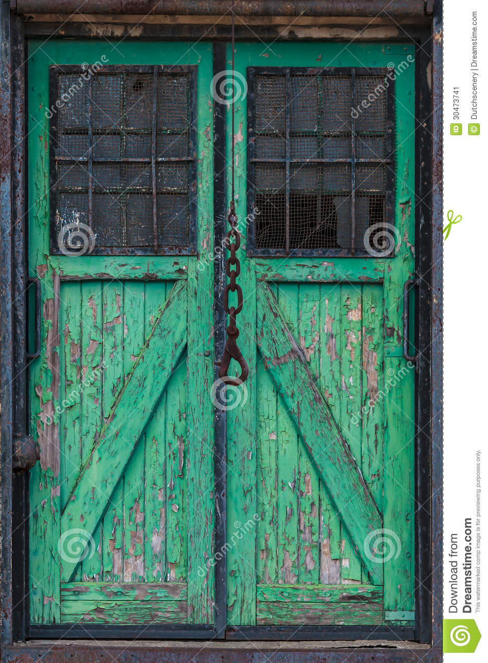 Old Wooden Warehouse Door With A Crane Hook In Front Stock Image  Image 30473741