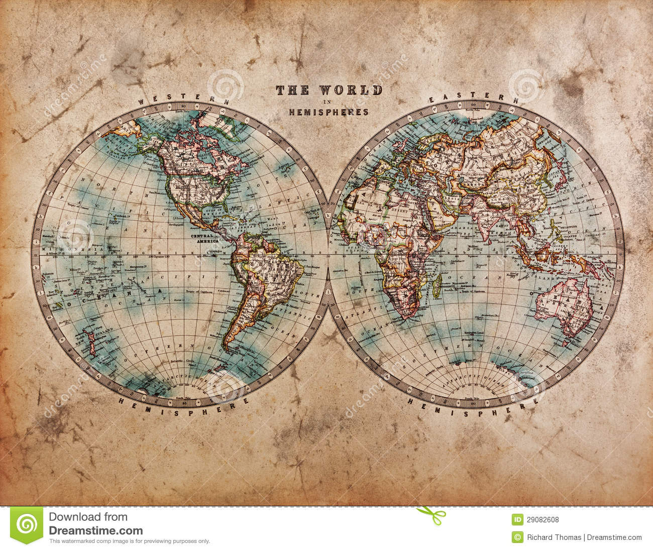 Old World Map In Hemispheres Stock Photo