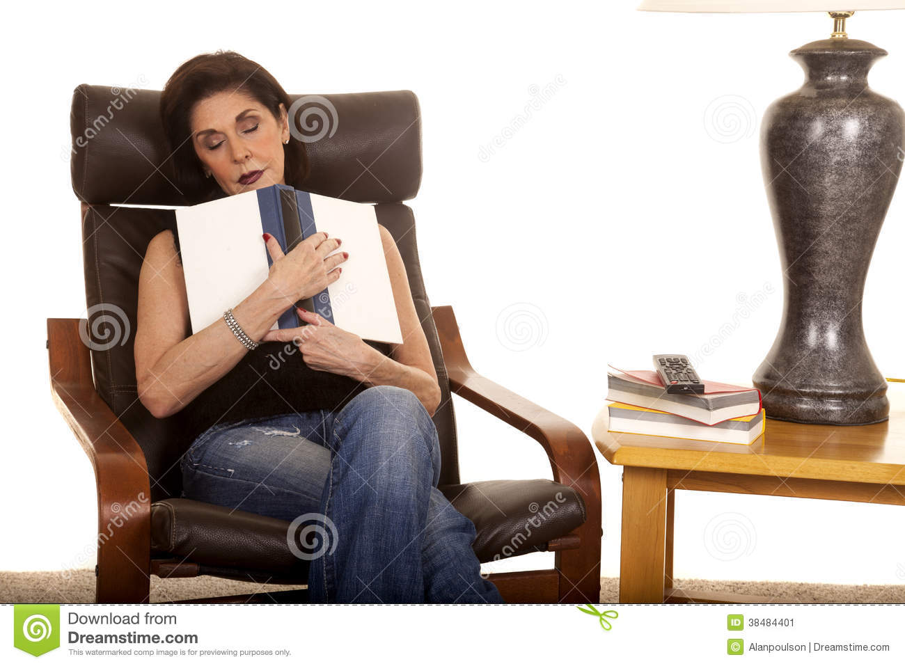 old lady chair wingback accent blue older woman sleep with book in stock image