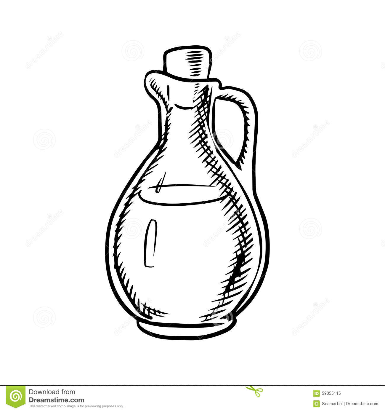Olive Oil Bottle Sketch With Handle And Cork Stock Vector