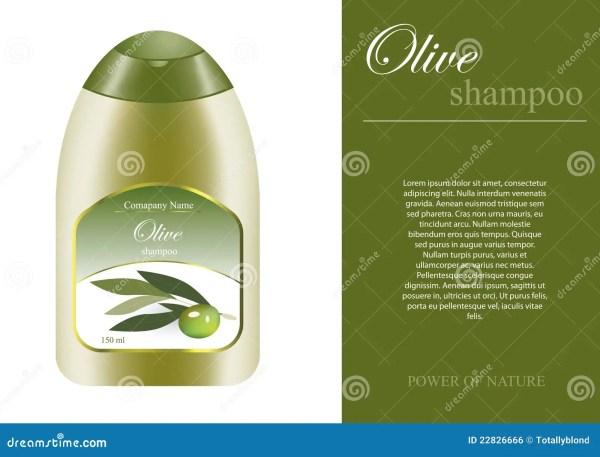 Olive Shampoo Bottle With Sampel Label Royalty Free Stock - 22826666