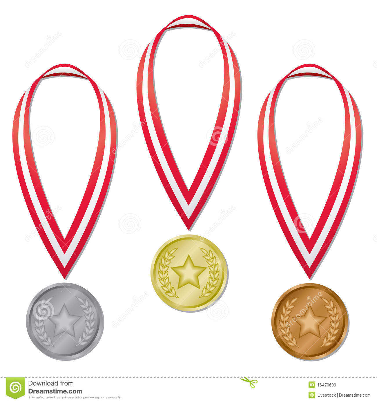 hight resolution of three olympic medals in gold silver and bronze with red and white ribbons perfect for olympic projects blends used