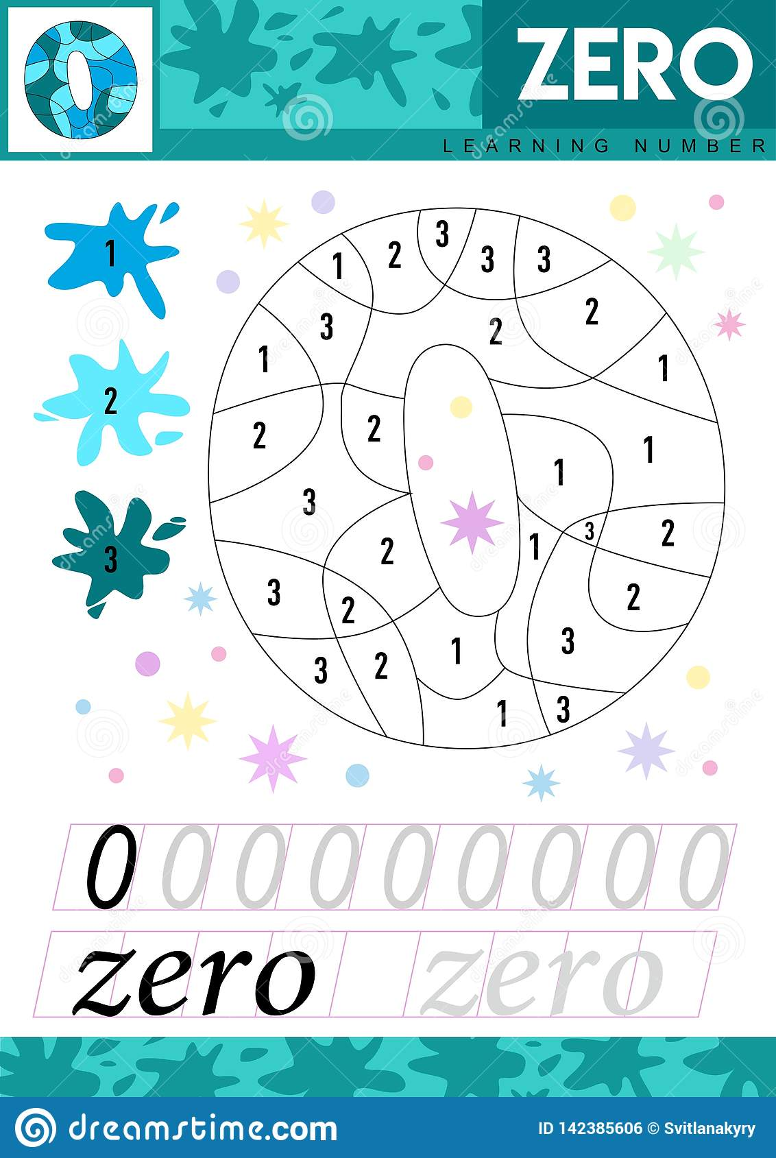 Write Numbers 0 Zero Kids Learn To Count Worksheet