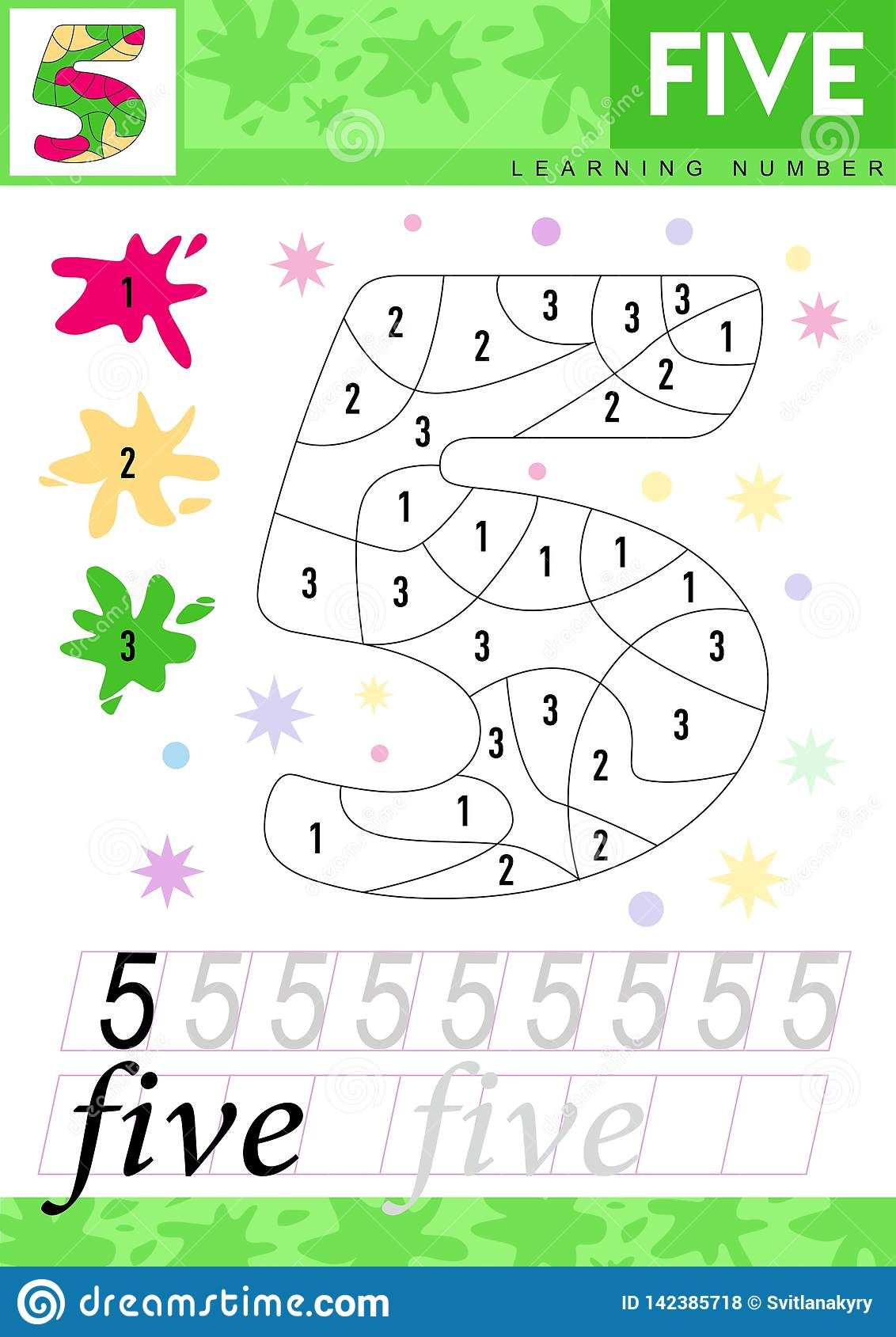 Learn Numbers 5 Five Kids Learn To Count Worksheet