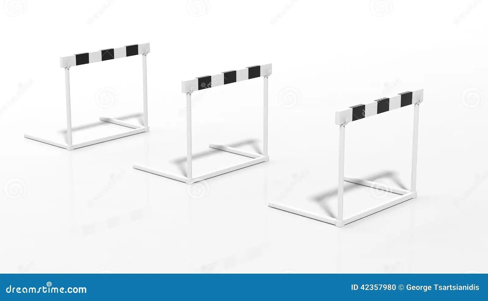 One Black And White Hurdle Stock Illustration