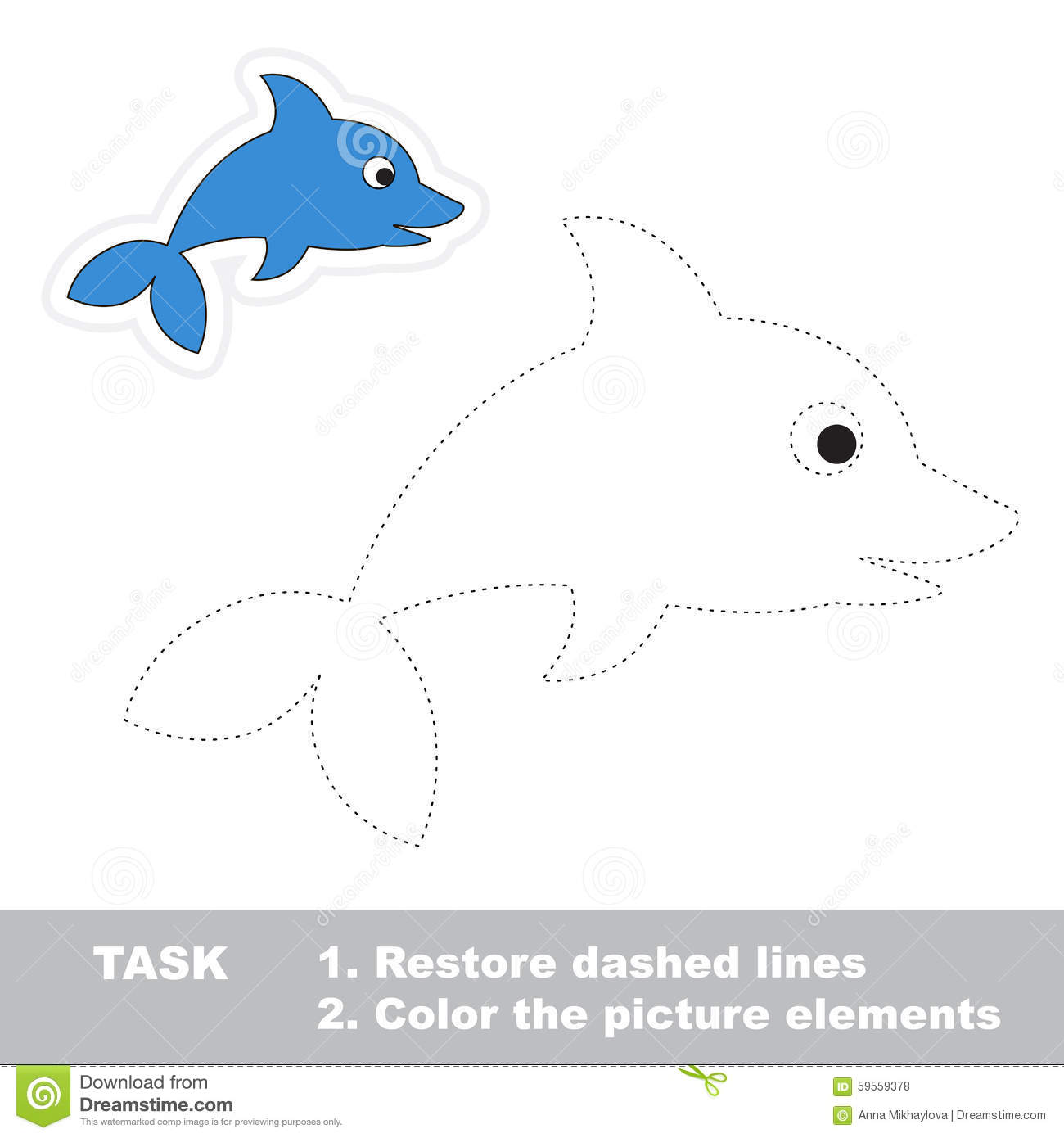 One Cartoon Dolphin Restore Dashed Line And Color Stock