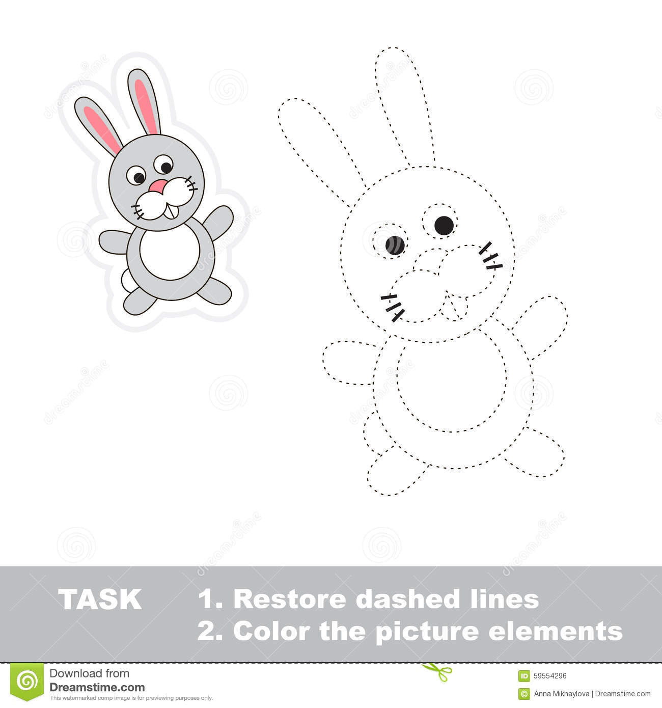 One Cartoon Rabbit Restore Dashed Line And Color Stock