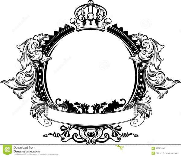 One Color Crown Vintage Ornate Sign Stock Vector