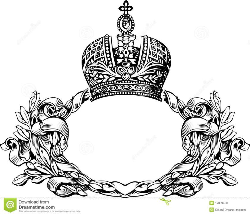 one color retro royal crown curves stock vector