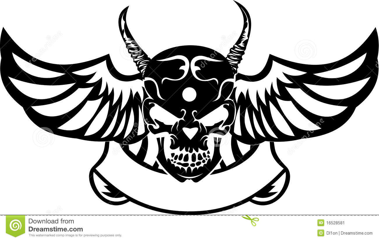 One Color Wings Horned Skull Stock Vector
