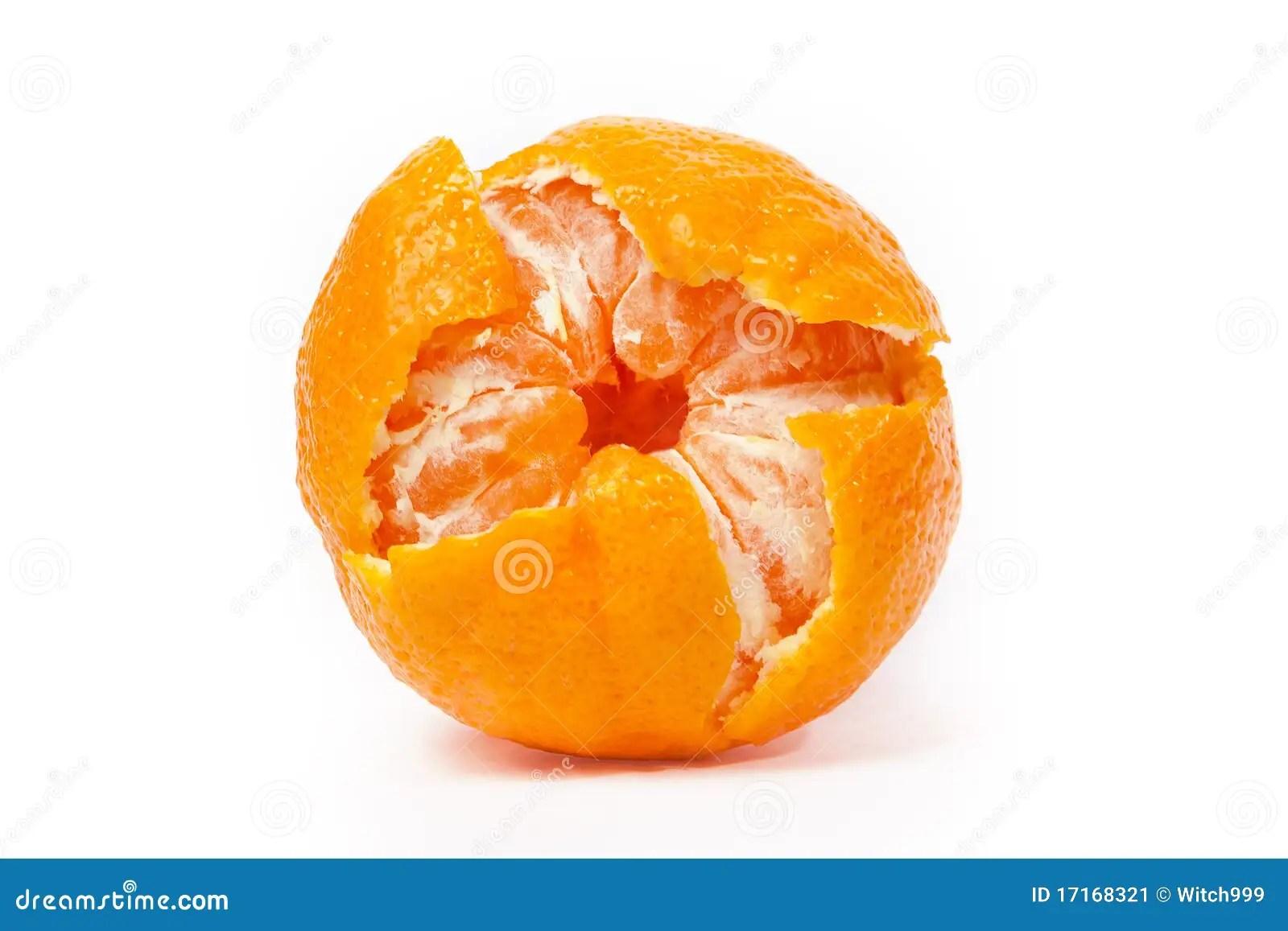One Peeled Mandarin Isolated Stock Image - Image: 17168321
