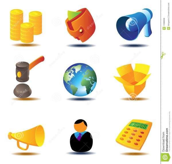 Online Auction Icons Royalty Free Stock