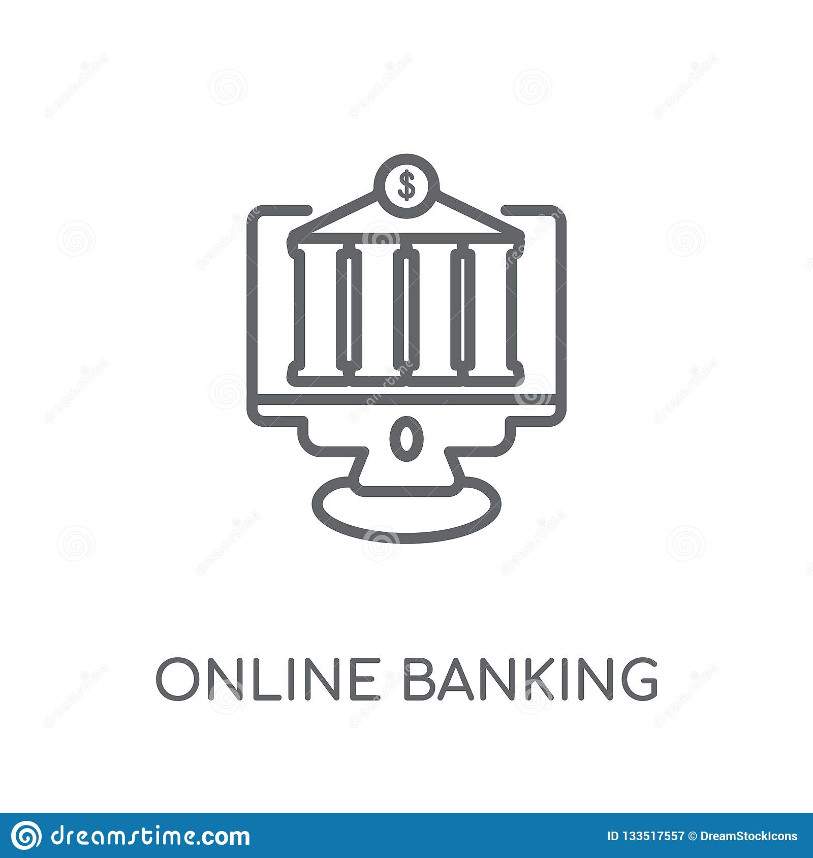 Online Banking Linear Icon Modern Outline Online Banking Logo C Stock Vector Illustration Of Internet Computer 133517557