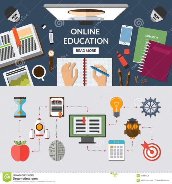 Online Education Flat Concept Background Banner Stock