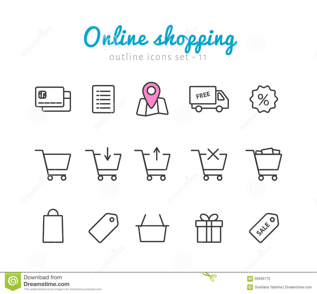Online Shopping Icons Stock Vector Illustration Of