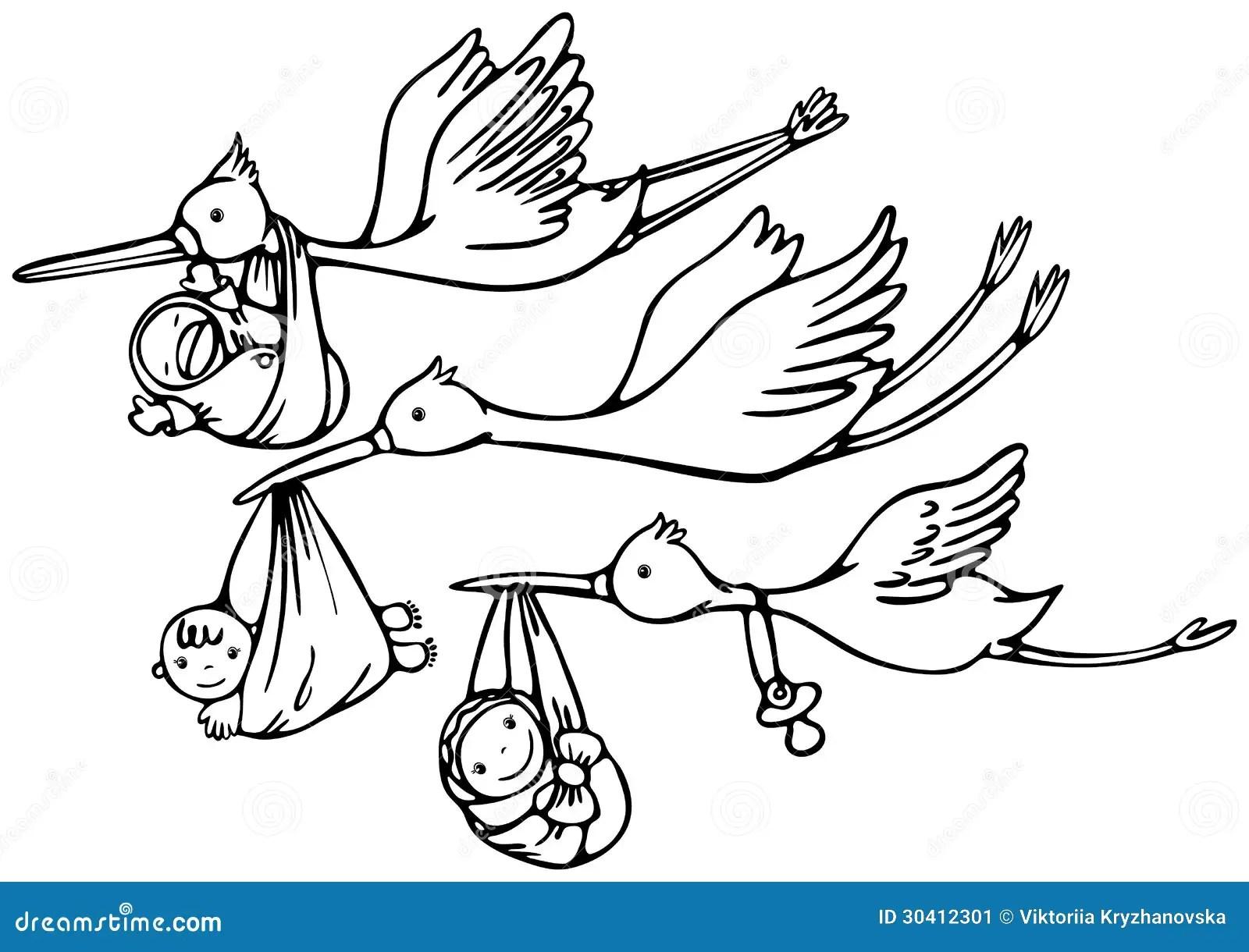 Ooievaar En Baby Vector Illustratie Illustratie