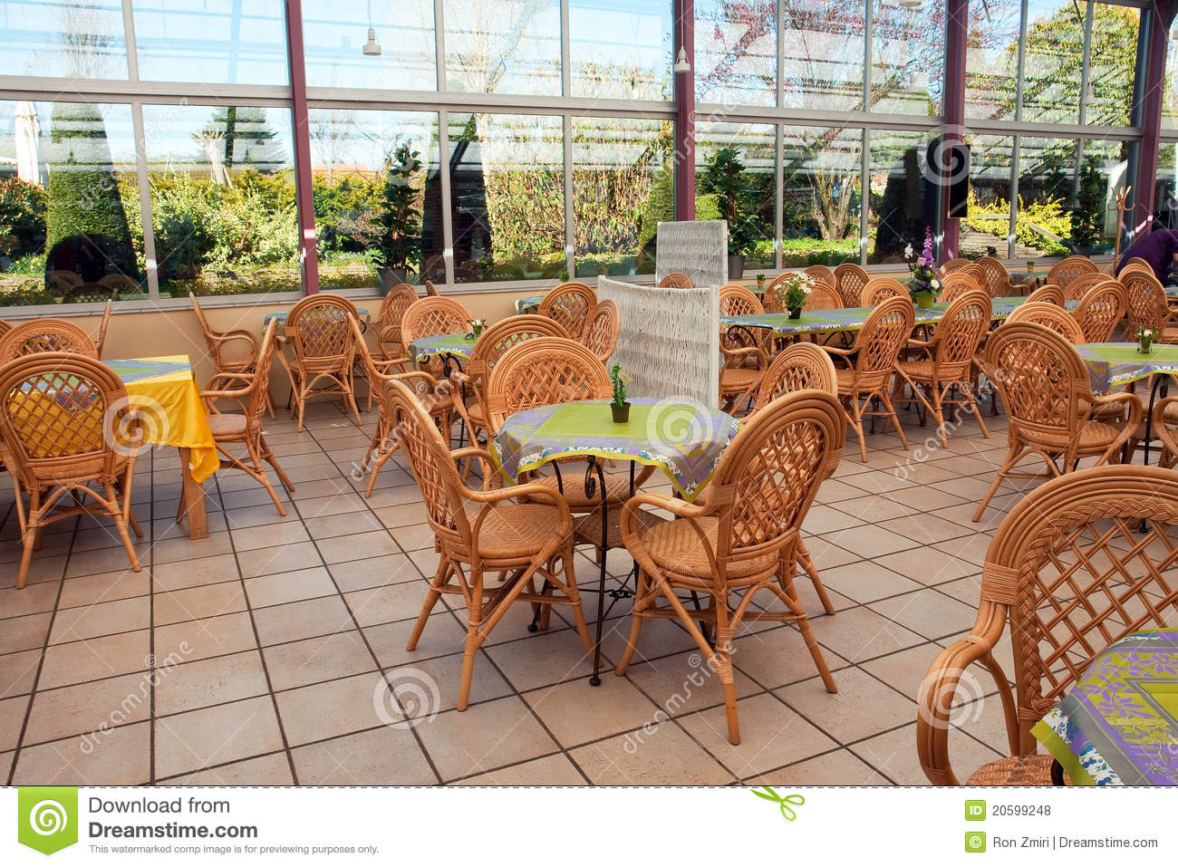 Open Air Beautiful Cafeteria Cafe Restaurant Stock Photo