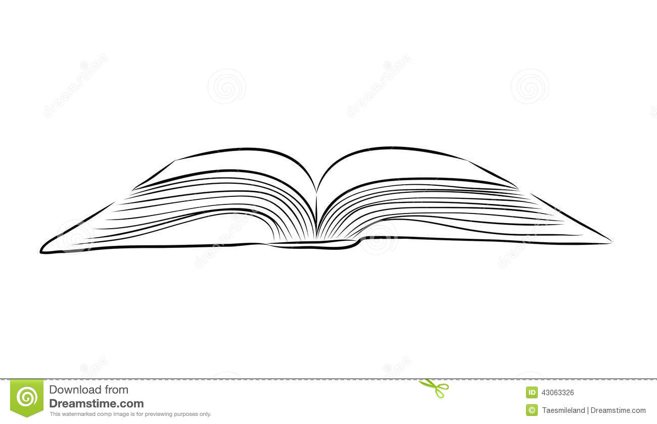 Open Book Hand Draw Stock Vector Illustration Of Isolate