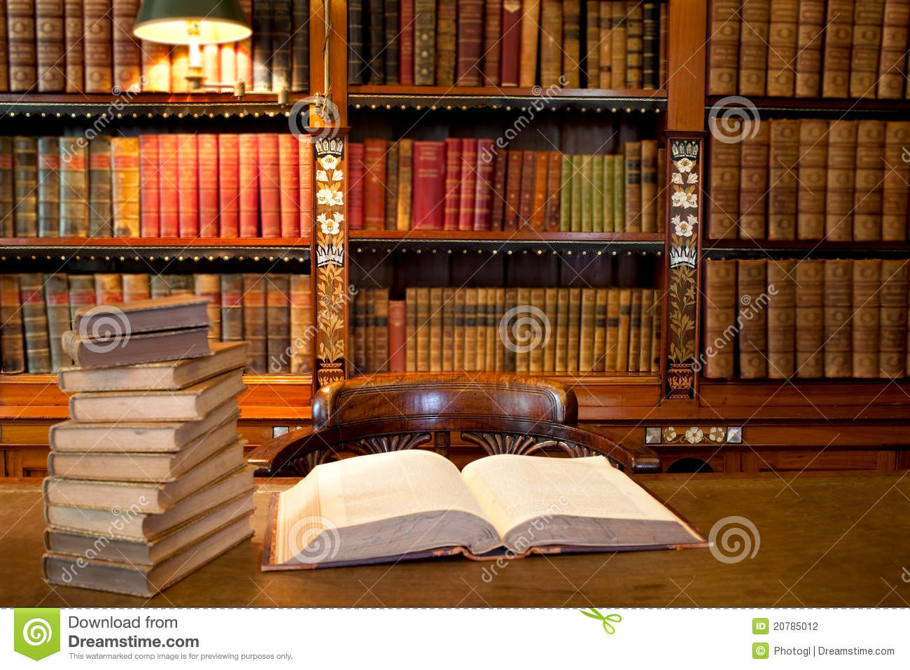 Open Book In Study Or Library Stock Photography  Image