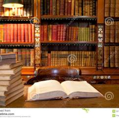 Wooden Library Chair Wood Office On Wheels Open Book In Study Or Stock Photography - Image: 20785012