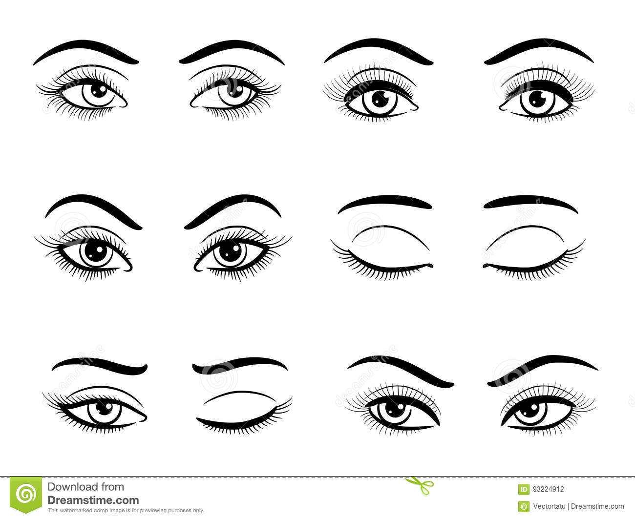 Open And Closed Female Eyes Set Stock Vector