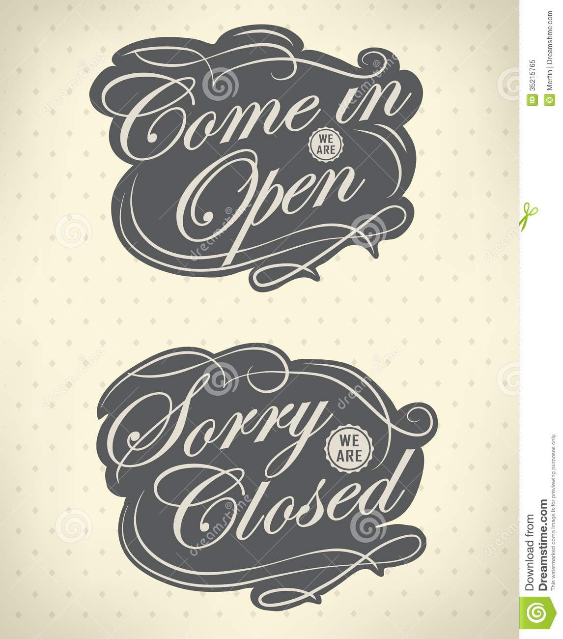 open and closed vintage
