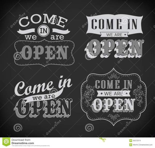 Open And Closed Vintage Retro Signs Stock - 35272374