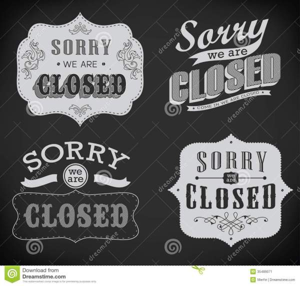 Open And Closed Vintage Retro Signs Stock - 35489071