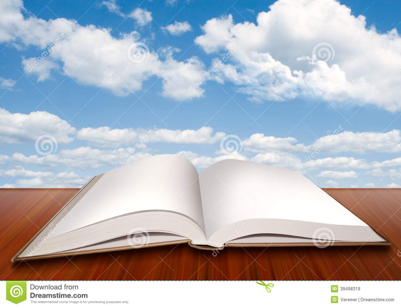 Open Empty Book With Blank Pages And Blue Sky Stock Illustration  Image 39498319