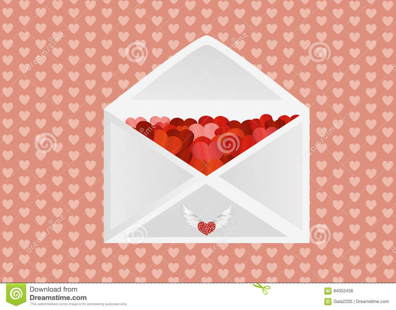 Open Envelope With Hearts Vector Illustration Royalty
