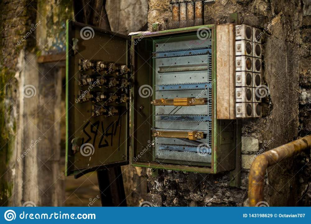 medium resolution of open metal fuse or control electricity box in abandoned industry ruins