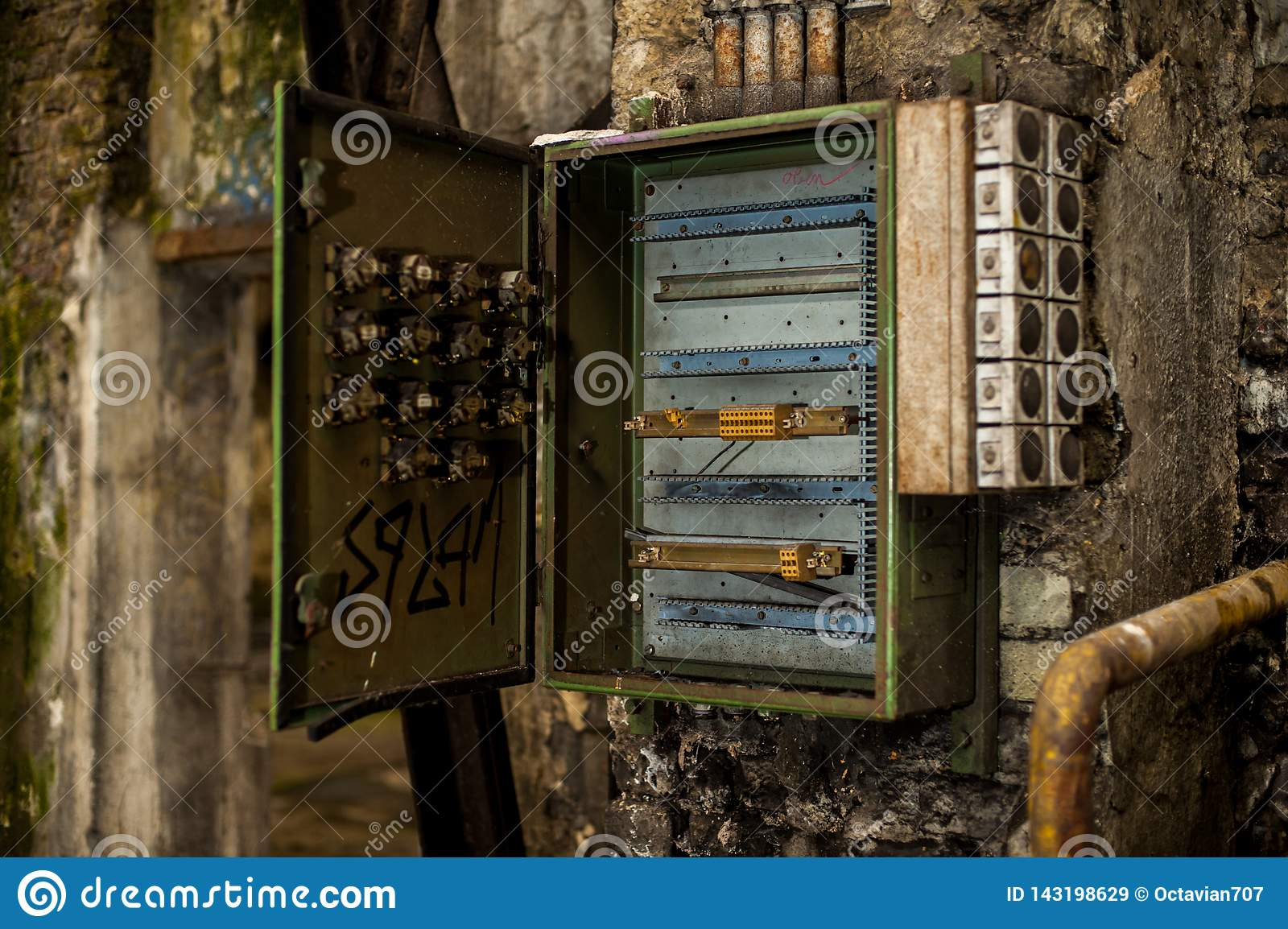 hight resolution of open metal fuse or control electricity box in abandoned industry ruins