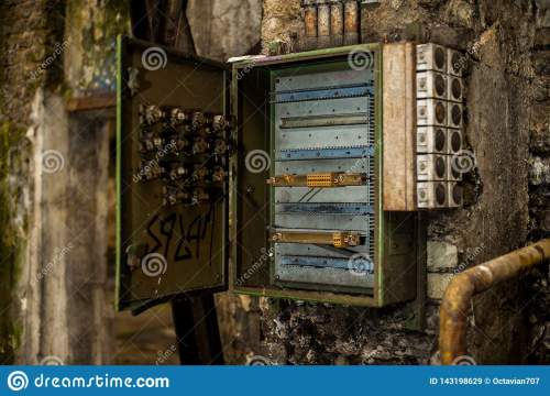 small resolution of open metal fuse or control electricity box in abandoned industry ruins