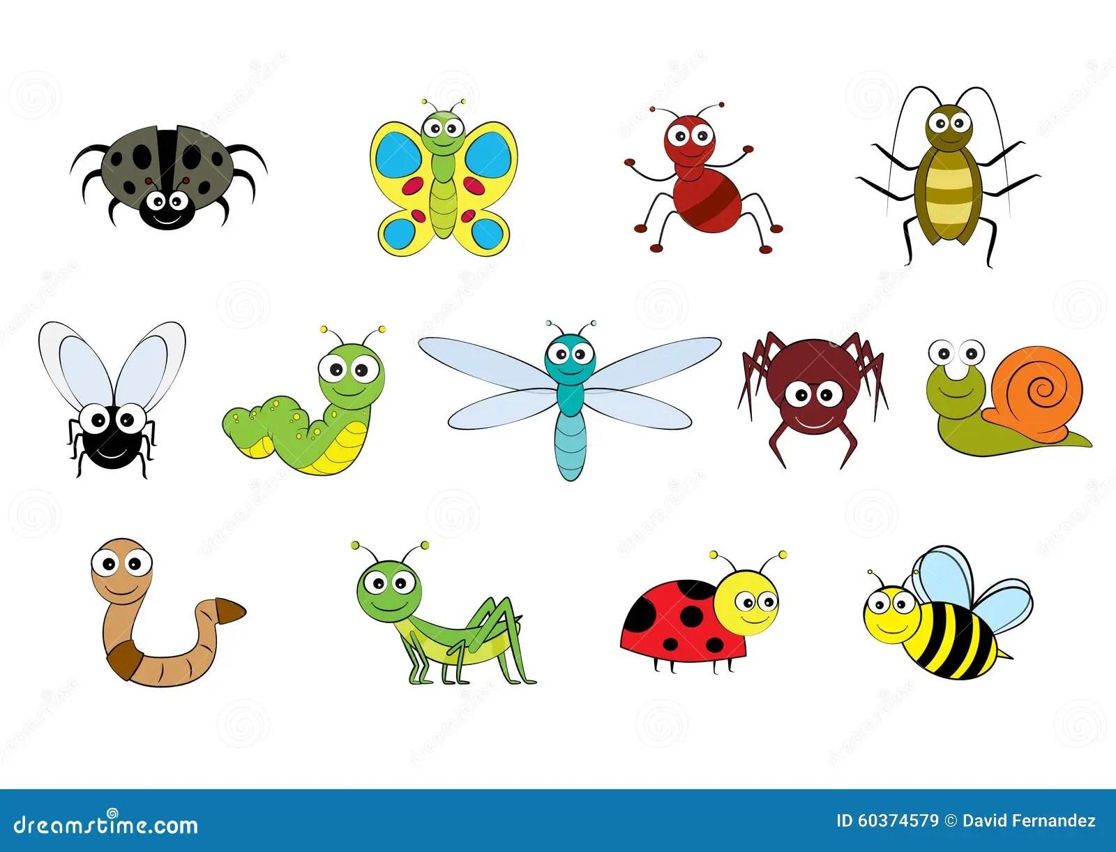 Vector Cartoon Style Mini Beasts Illustration Stock Vector