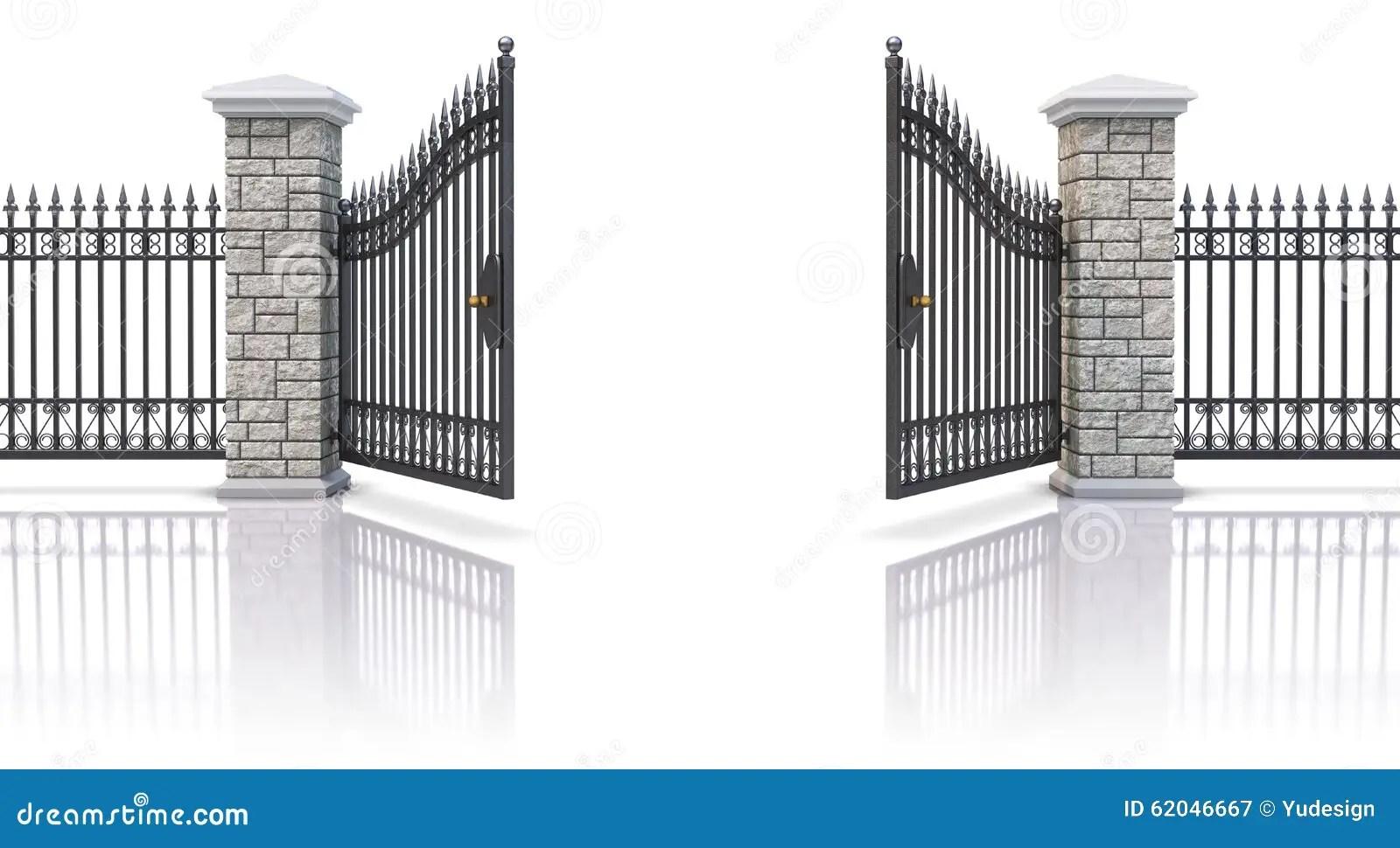 Open Iron Gate Stock Illustration Illustration Of Fence