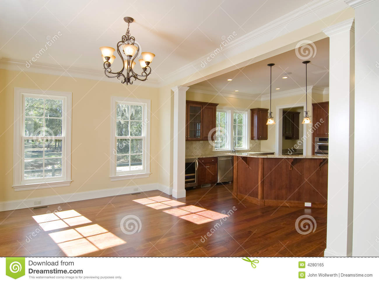 kitchen appliance cabinet surplus cabinets open and dining area stock image - of modern ...