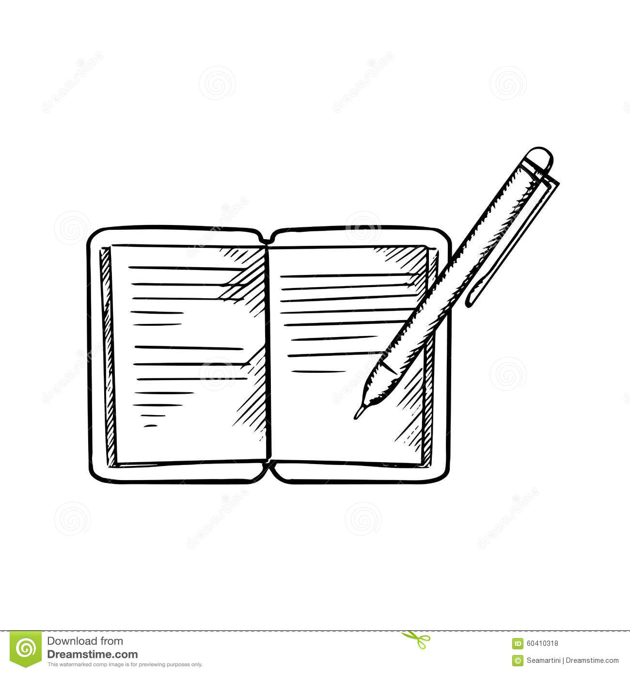 Open Notebook With Pen, Sketch Image Stock Vector