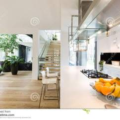 Open Plan Staircase In Living Room Wall Ideas Pictures Kitchen And Stock Image Of Luxury