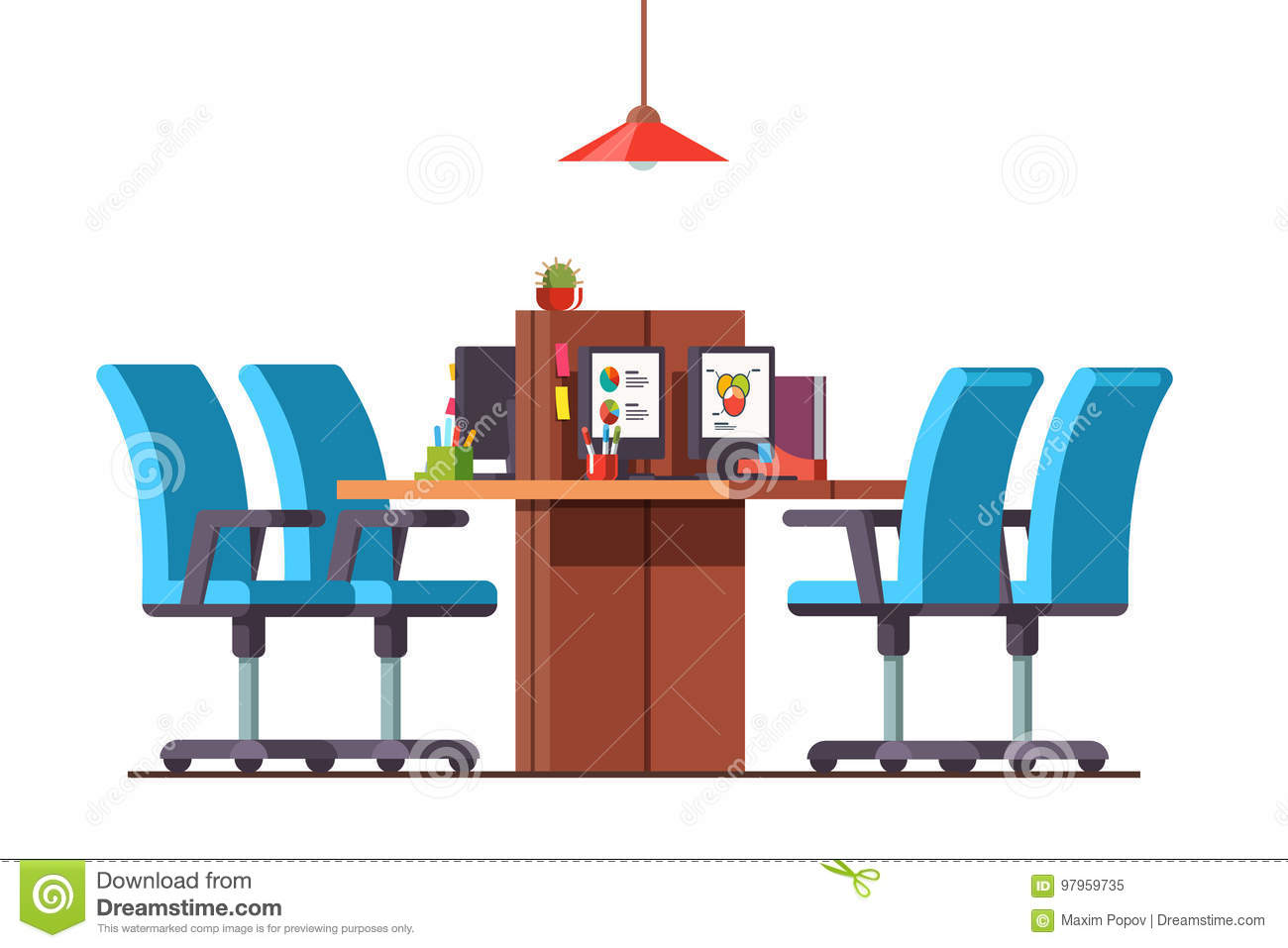 Minimalist Desk Chair Open Space Office With Combined Desks And Chairs Stock Vector