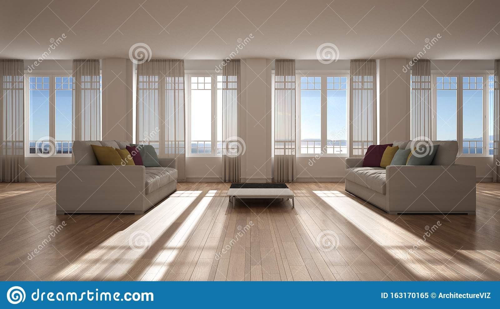 https www dreamstime com open space sofa interior design modern living room lounge big panoramic windows curtains sea view parquet stucco molded image163170165