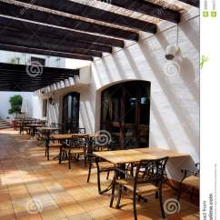 Restaurant Chairs For Less Hickory Chair Fabrics Open Terrace Cafe In Mediterranean Town Stock Images - Image: 20806394