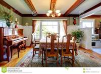 Open Wall Design Dining Room With Piano Stock Image ...