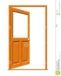 Open Wood Door With Blank Window Stock Illustration ...