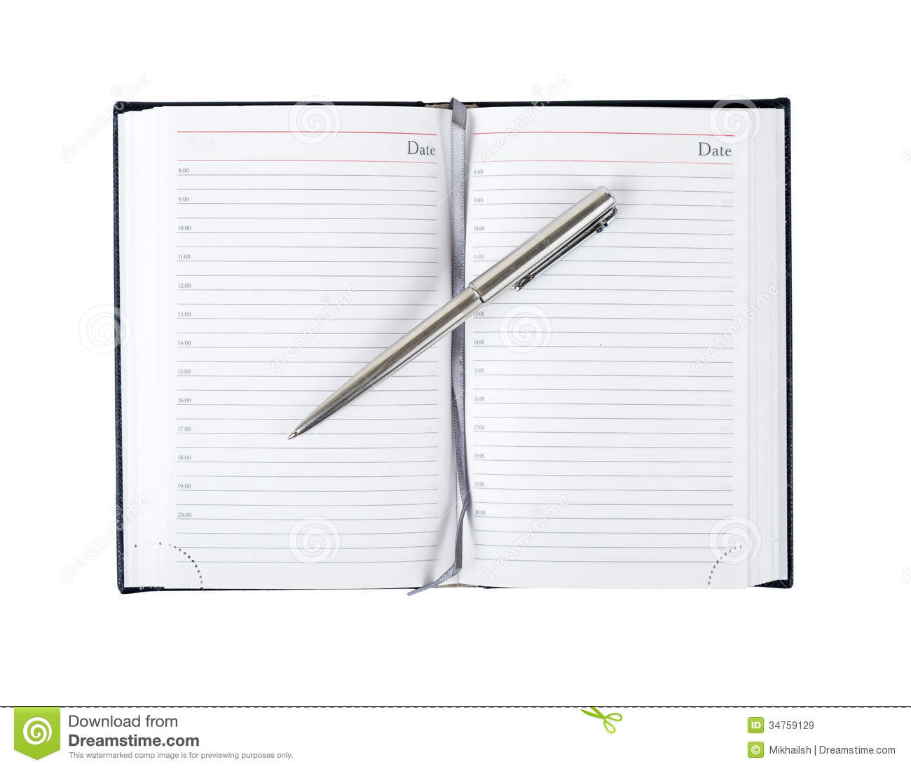 Opened diary with pen stock image. Image of journal