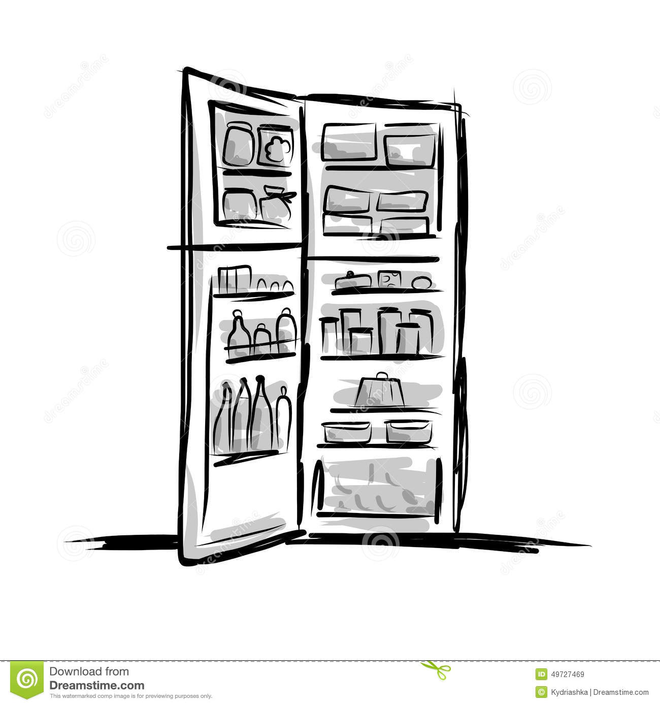 Opened Fridge Full Of Food Sketch For Your Design Stock