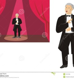 male opera singer on stage and isolated stock illustration [ 1300 x 1018 Pixel ]