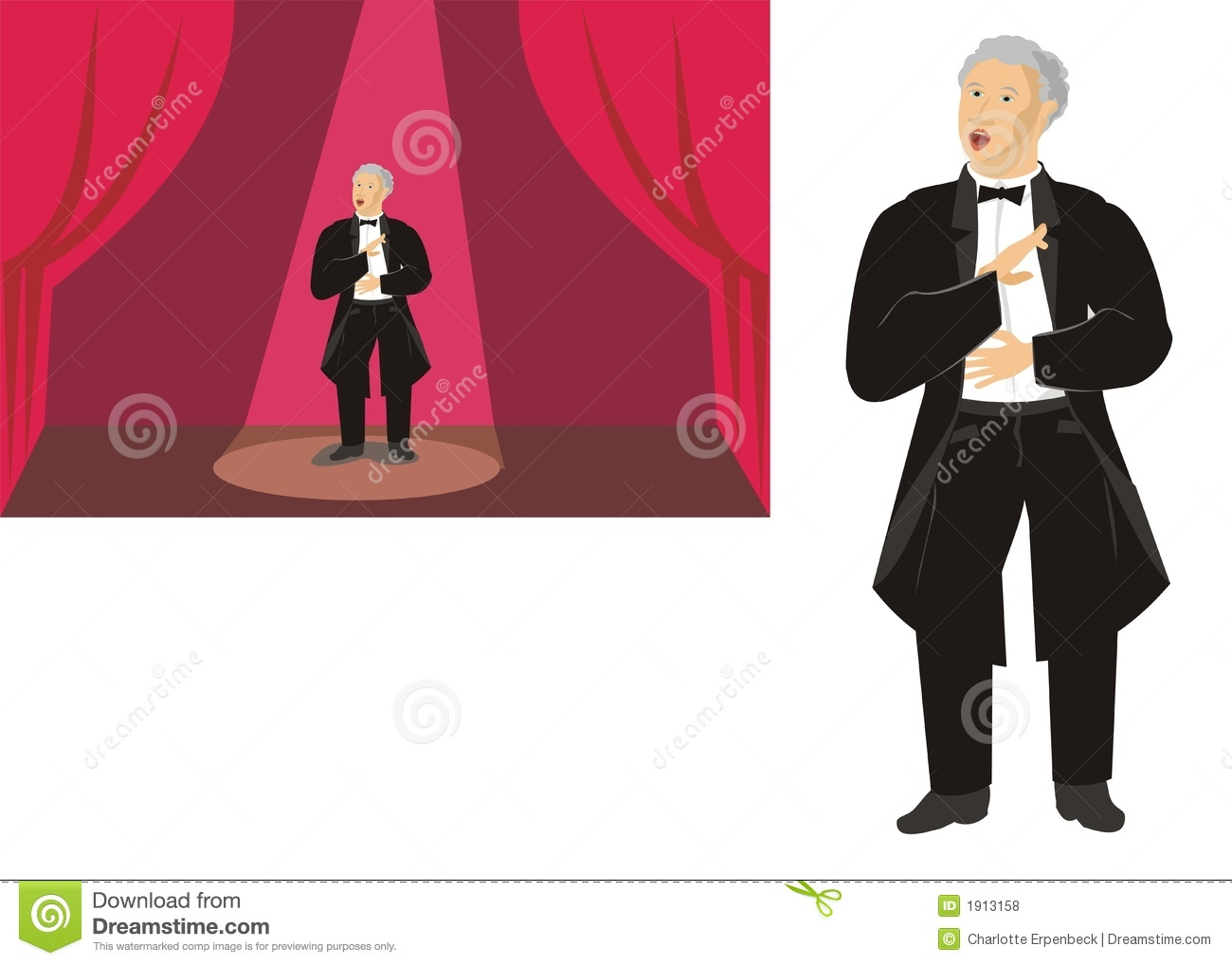 hight resolution of male opera singer on stage and isolated stock illustration