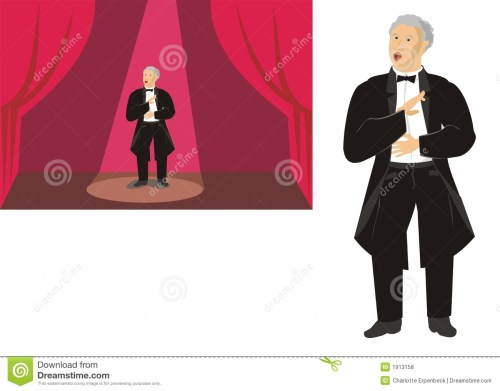 small resolution of male opera singer on stage and isolated stock illustration