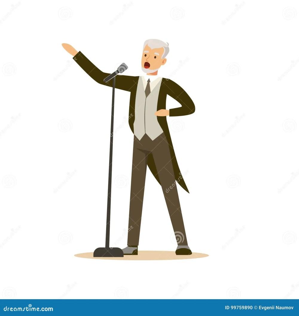 medium resolution of opera singer man wearing an elegant tuxedo performing a song vector illustration