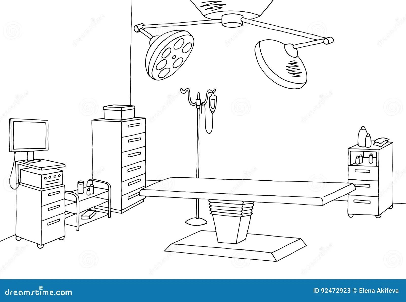 Operating Room Graphic Black White Interior Sketch